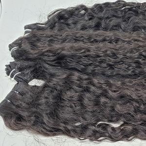 Burmese curly lace frontal and bundles Virgin Hair